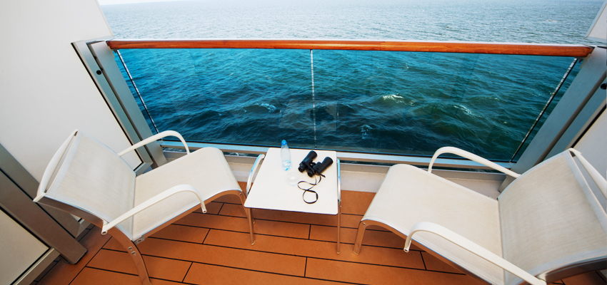 Private balcony on a cruise ship