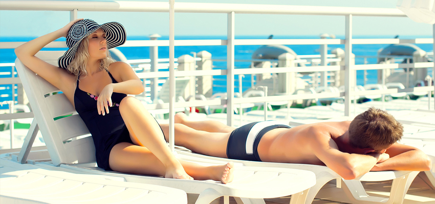 Sunbathers on a cruise ship