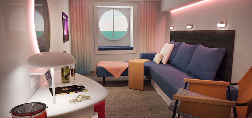 Scarlet Lady cruise ship solo sea view cabin